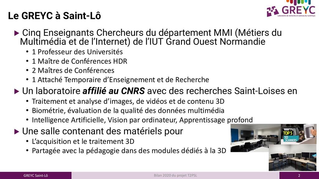2 GREYC Saint-Lô Bilan 2020 du projet T2PSL Le ...