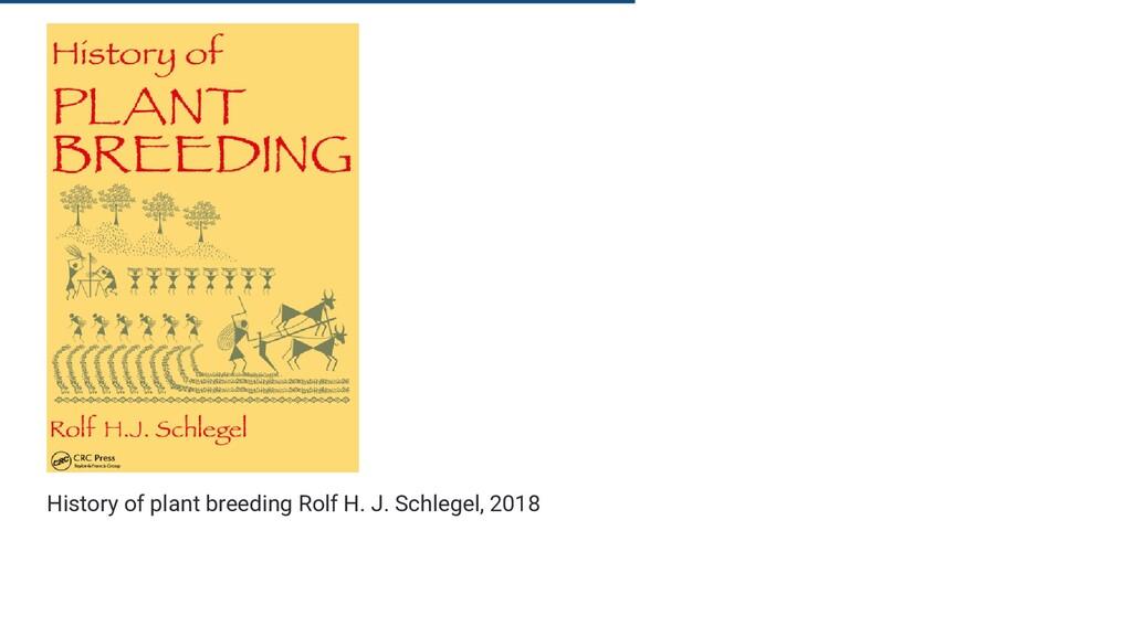 History of plant breeding Rolf H. J. Schlegel, ...