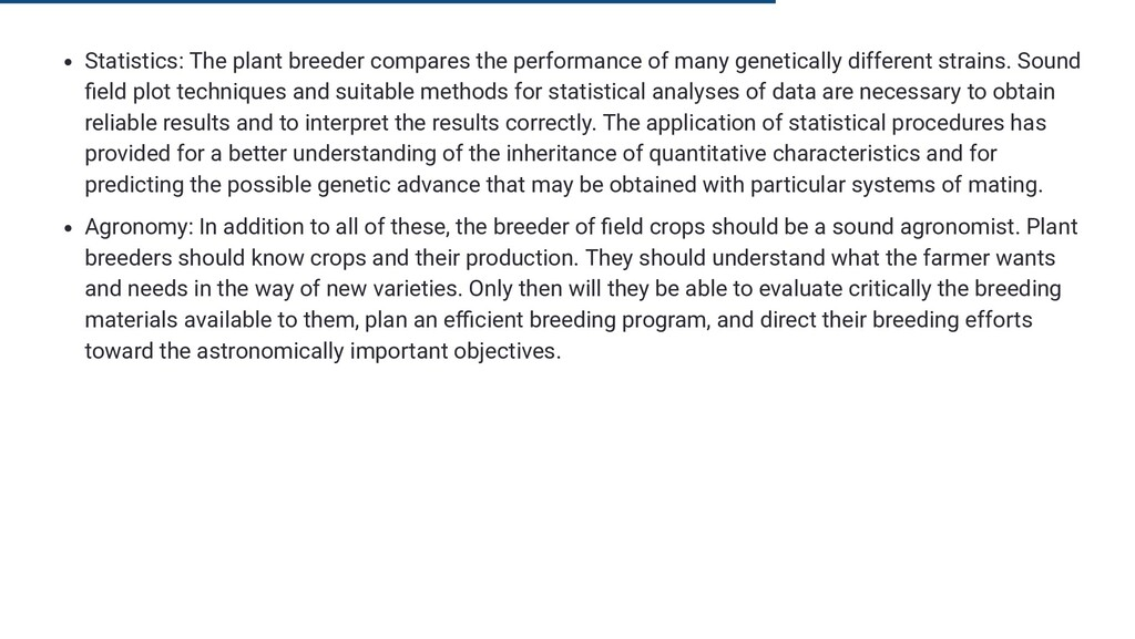 Statistics: The plant breeder compares the perf...