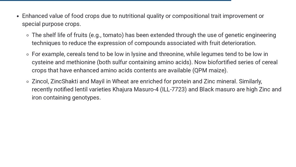 Enhanced value of food crops due to nutritional...