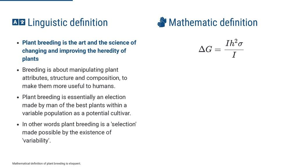  Linguistic de nition Plant breeding is the ar...