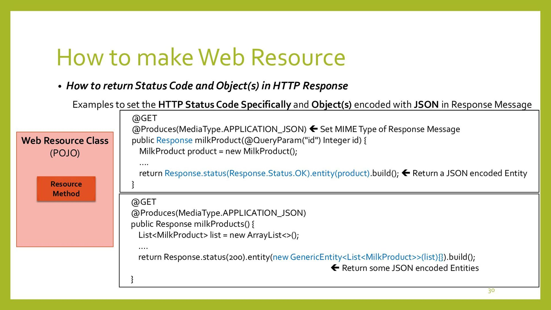 How to make Web Resource • How to return Except...