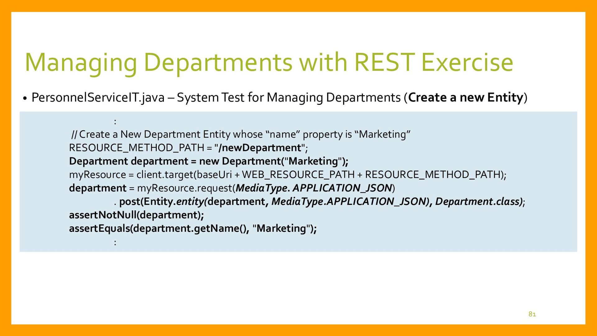 Exercise for Managing Departments with REST • R...