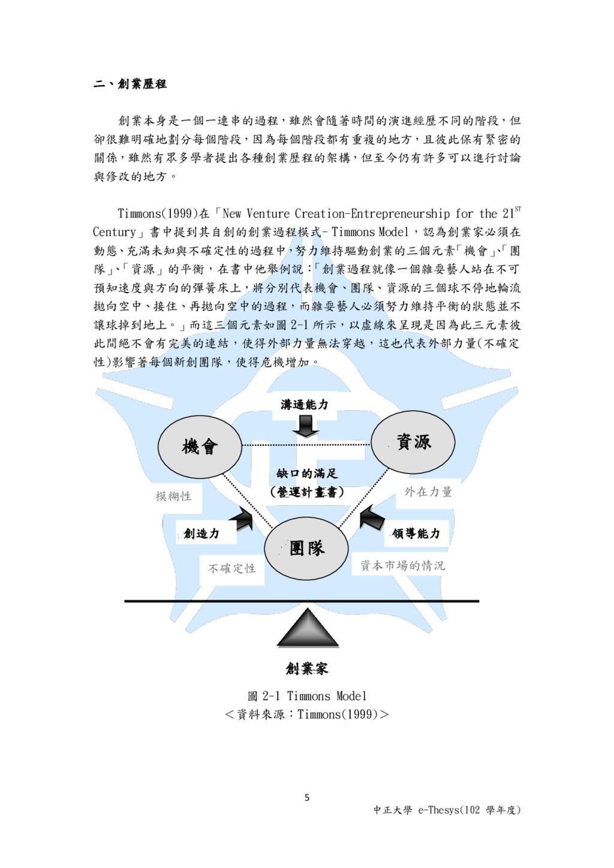 5 中正大學 e-Thesys(102 學年度) 二、創業歷程 創業本身是一個一連串的過程,雖...