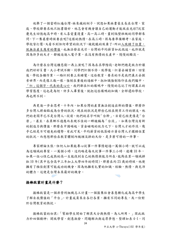 24 中正大學 e-Thesys(102 學年度) 他舉了一個當時紅遍台灣-林來瘋的例子,試想...