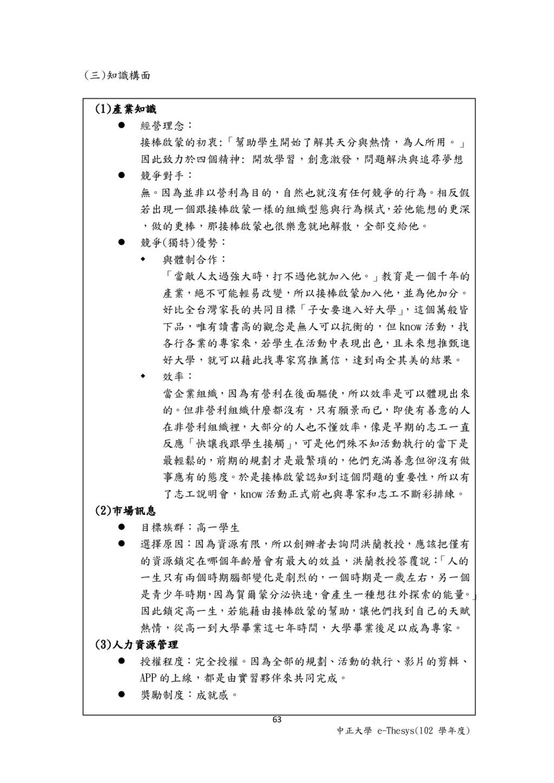 63 中正大學 e-Thesys(102 學年度) (三)知識構面 (1)產業知識  經營理...