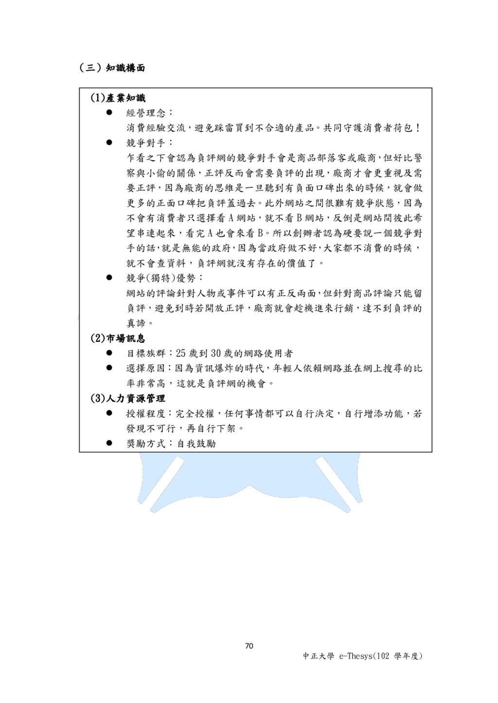 70 中正大學 e-Thesys(102 學年度) (三)知識構面 (1)產業知識  經營理...