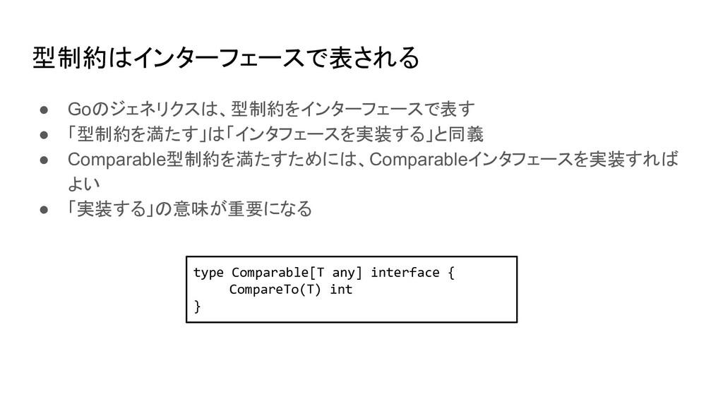 型制約はインターフェースで表される ● Goのジェネリクスは、型制約をインターフェースで表す ...