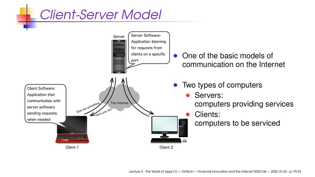 Client-Server Model 5IF*OUFSOFU (JWFNFTPNFUI...