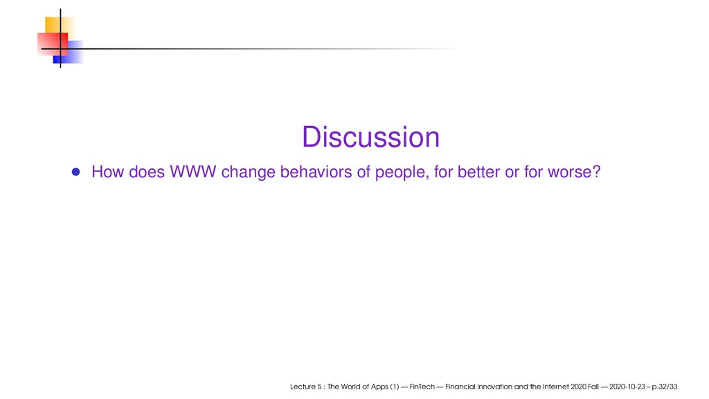 Discussion How does WWW change behaviors of peo...