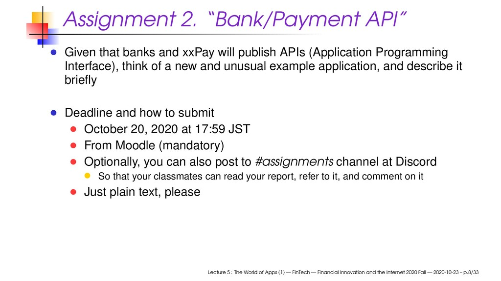 "Assignment 2. ""Bank/Payment API"" Given that ban..."