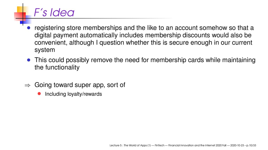 F's Idea registering store memberships and the ...