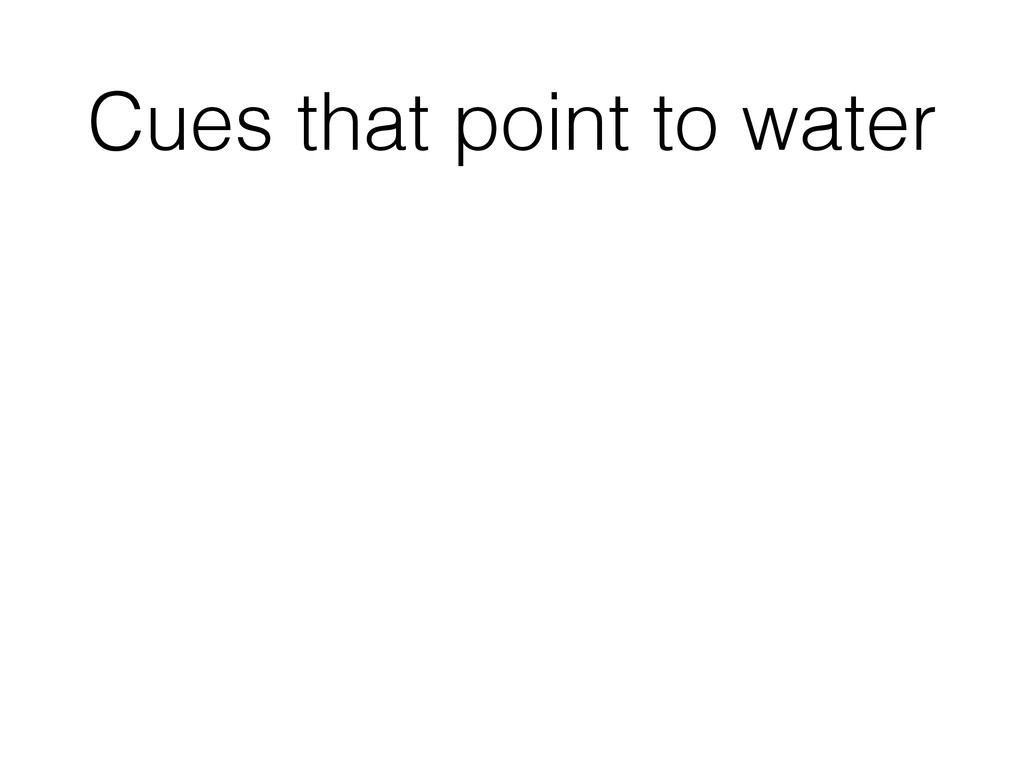 Cues that point to water