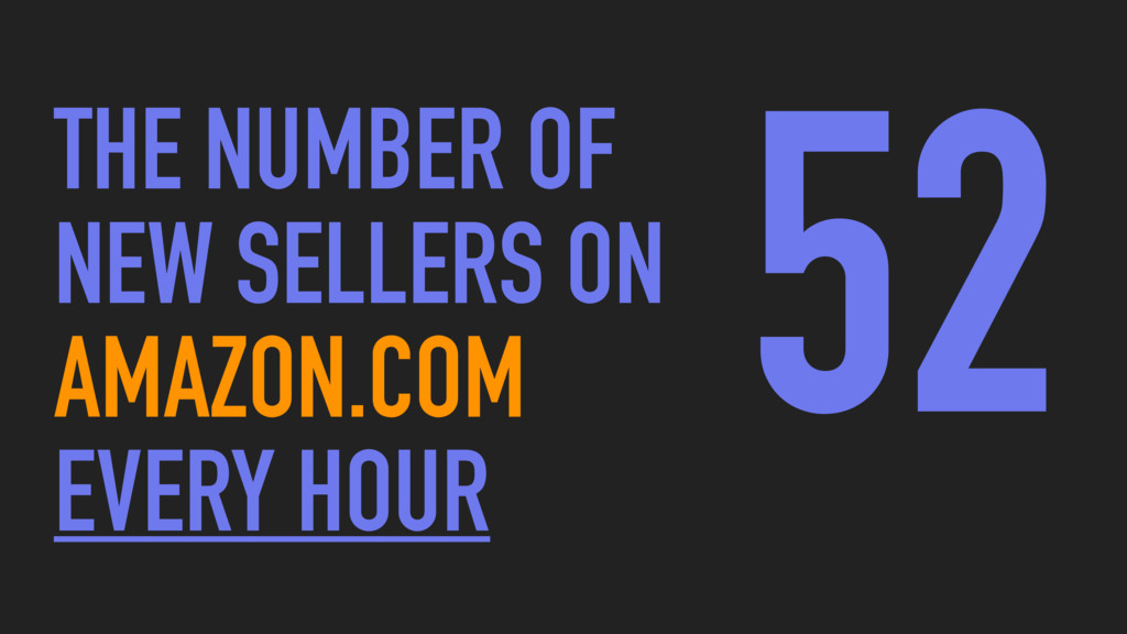 52 THE NUMBER OF NEW SELLERS ON AMAZON.COM EVER...
