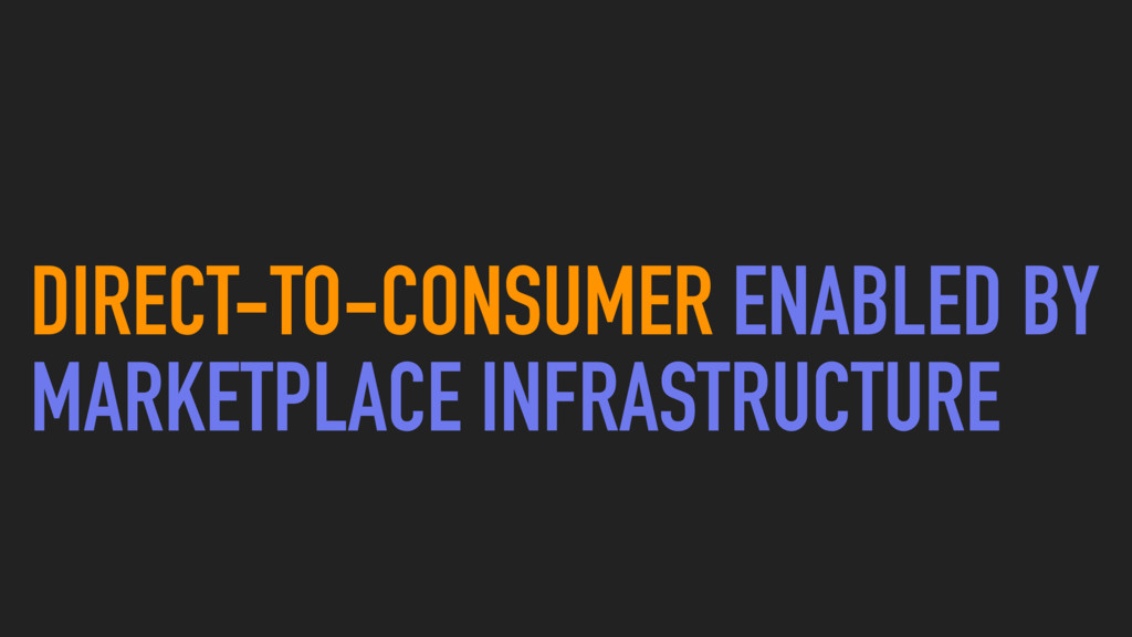 DIRECT-TO-CONSUMER ENABLED BY MARKETPLACE INFRA...