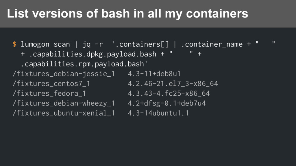 $ lumogon scan | jq -r '.containers[] | .contai...