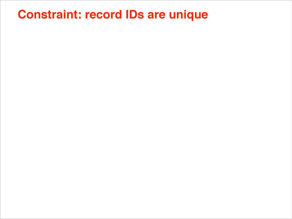 Constraint: record IDs are unique