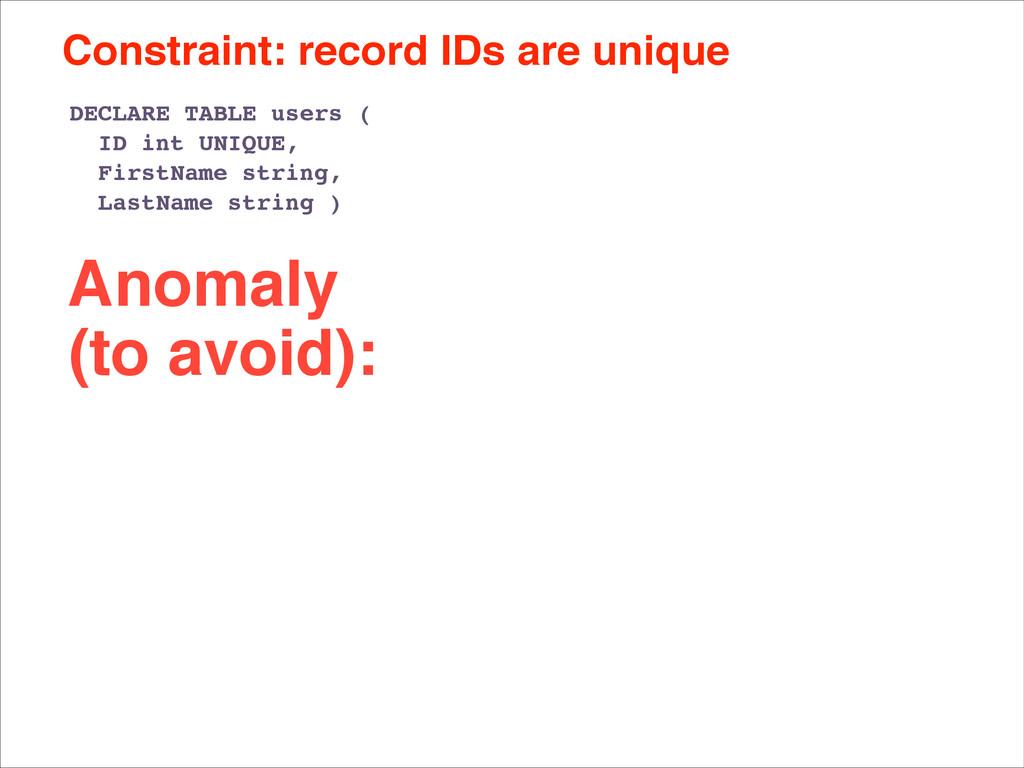 Constraint: record IDs are unique DECLARE TABLE...