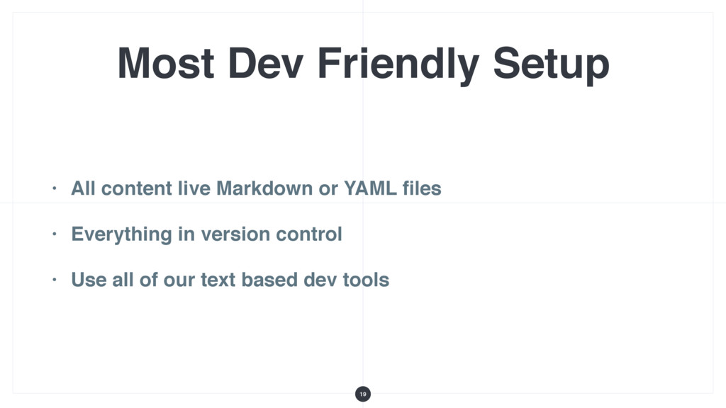 Most Dev Friendly Setup • All content live Mark...