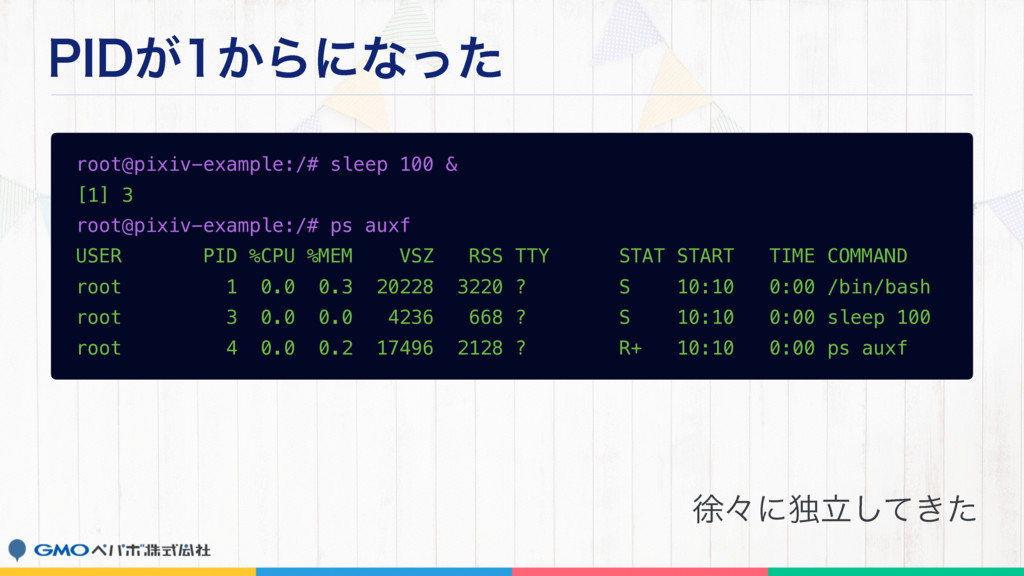 1*%͕͔Βʹͳͬͨ root@pixiv-example:/# sleep 100 & [...