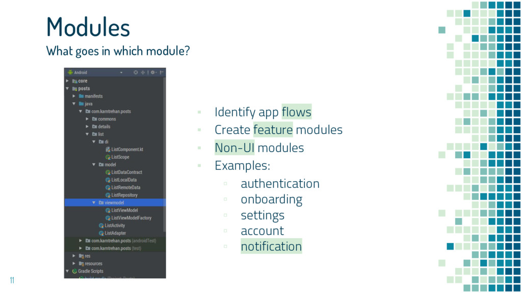 11 Modules What goes in which module? ▪ Identif...