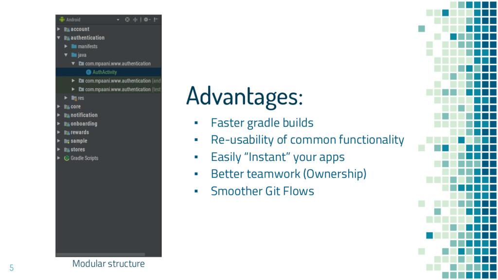 5 Modular structure Advantages: ▪ Faster gradle...