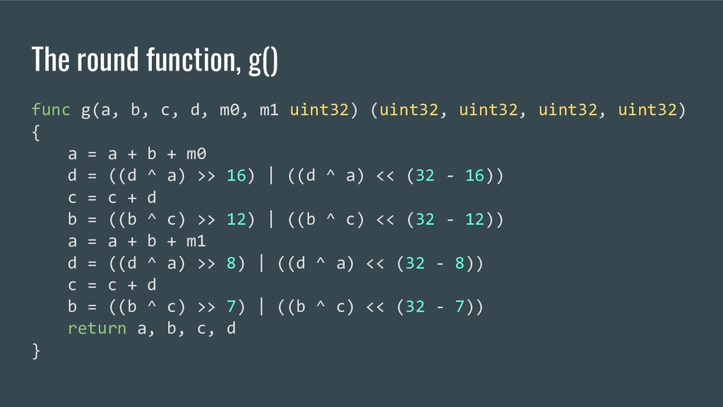 The round function, g() func g(a, b, c, d, m0, ...