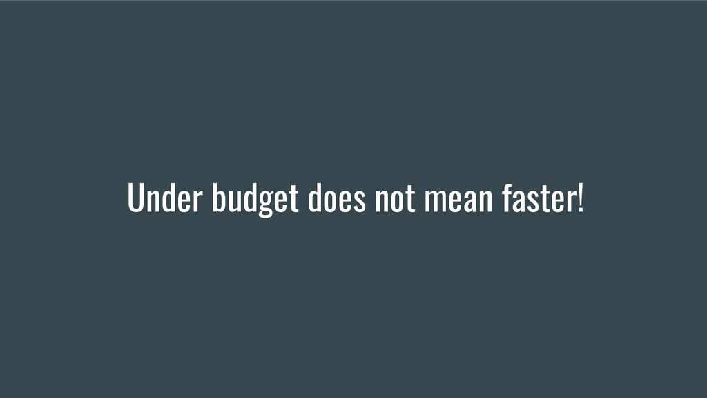 Under budget does not mean faster!
