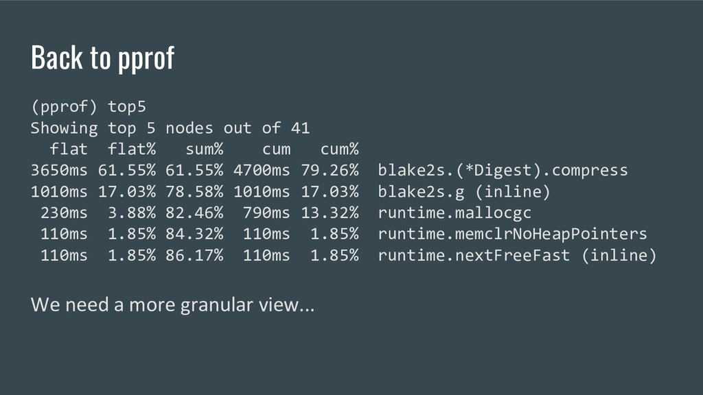 Back to pprof (pprof) top5 Showing top 5 nodes ...