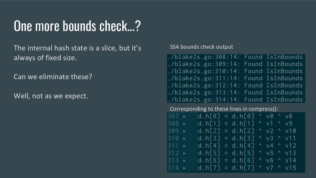 One more bounds check...? The internal hash sta...