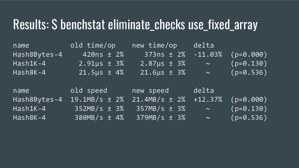Results: $ benchstat eliminate_checks use_fixed...