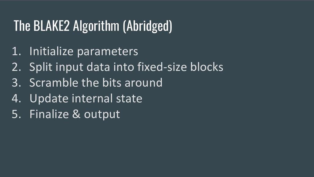 The BLAKE2 Algorithm (Abridged) 1. Initialize p...