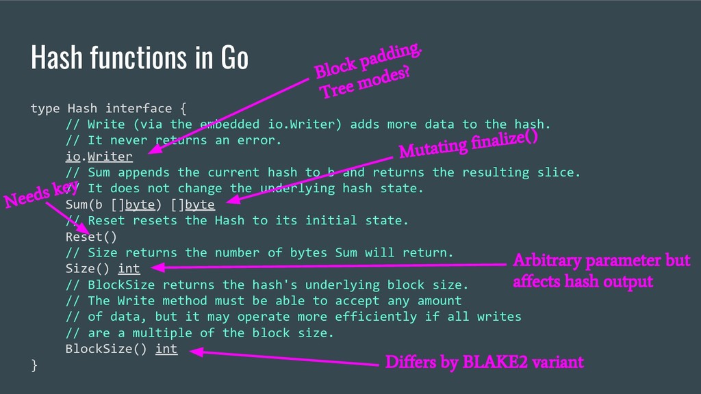 Hash functions in Go type Hash interface { // W...