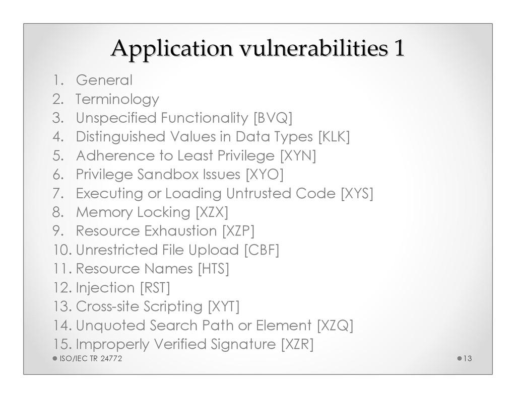 Application vulnerabilities 1 Application vulne...