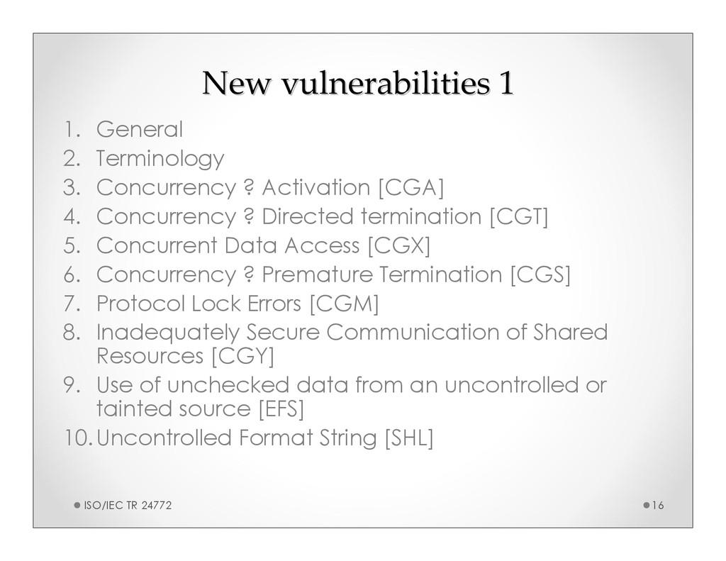 New vulnerabilities 1 New vulnerabilities 1 1. ...