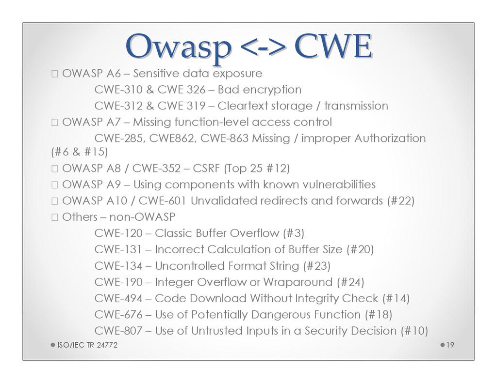 Owasp < Owasp <- -> CWE > CWE OWASP A6 – Sensit...