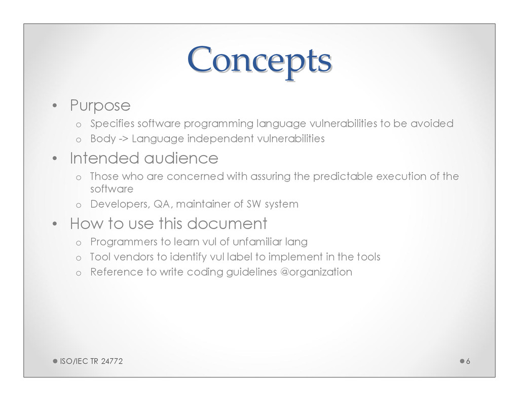 Concepts Concepts • Purpose o Specifies softwar...
