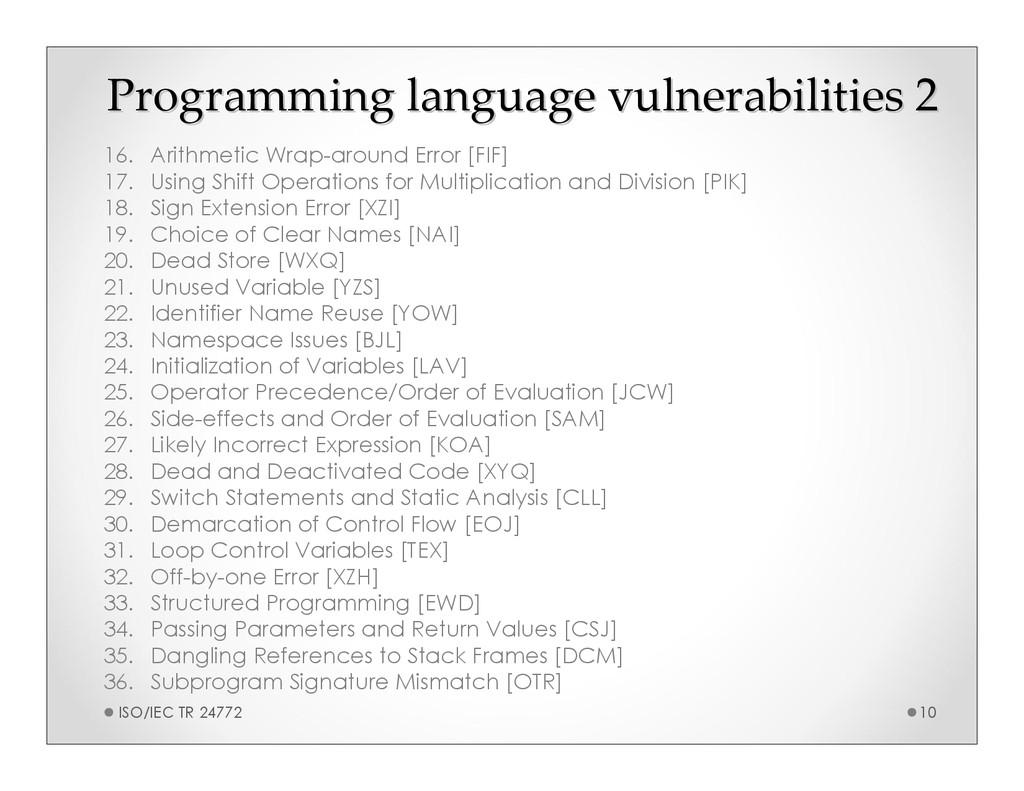 Programming language vulnerabilities 2 Programm...