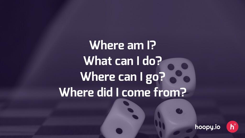 Where am I? What can I do? Where can I go? Wher...