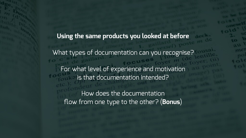 What types of documentation can you recognise? ...