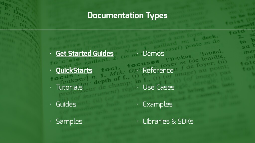 Documentation Types • Get Started Guides • Quic...