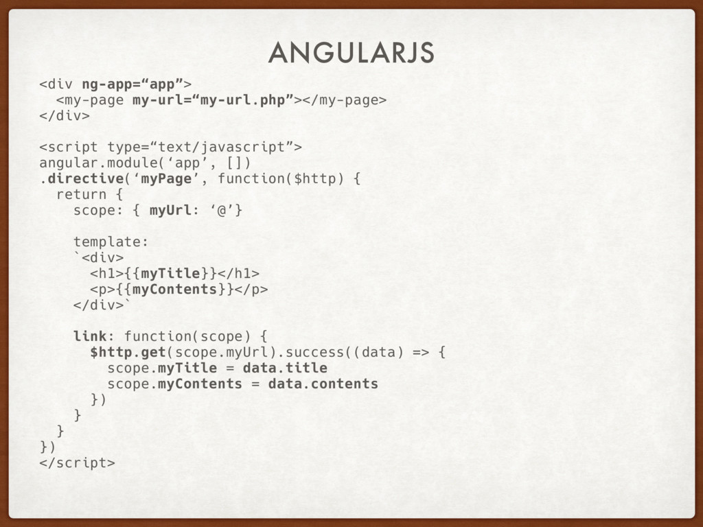 "ANGULARJS <div ng-app=""app""> <my-page my-url=""m..."