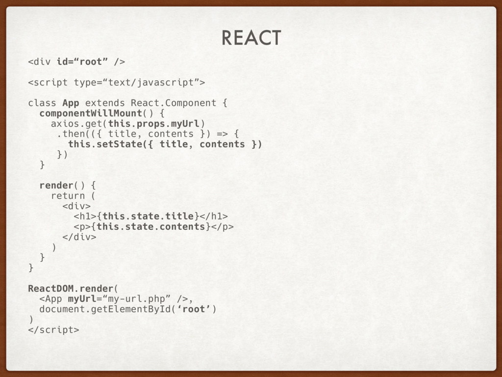 """REACT <div id=""""root"""" /> <script type=""""text/java..."""