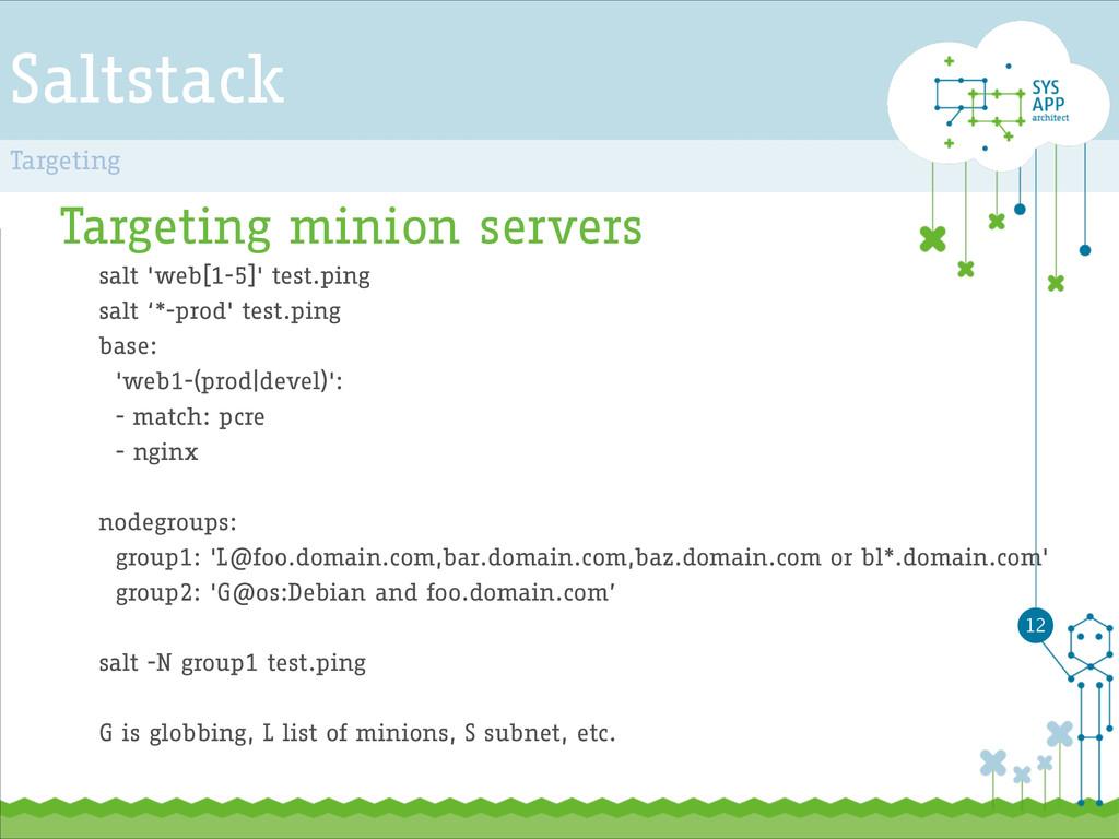 Saltstack Targeting minion servers salt 'web[1-...