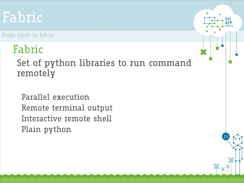 Fabric Fabric Set of python libraries to run co...