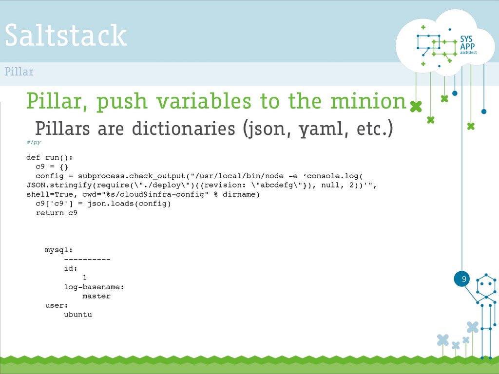 Saltstack Pillar, push variables to the minion ...