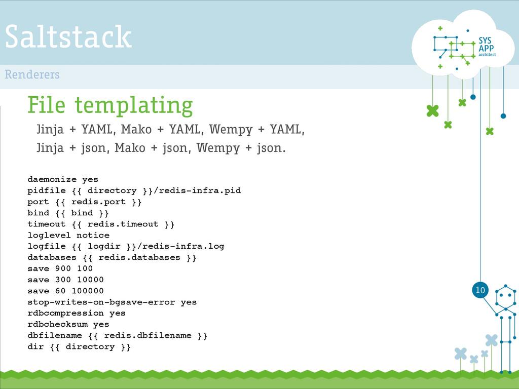 Saltstack File templating Jinja + YAML, Mako + ...