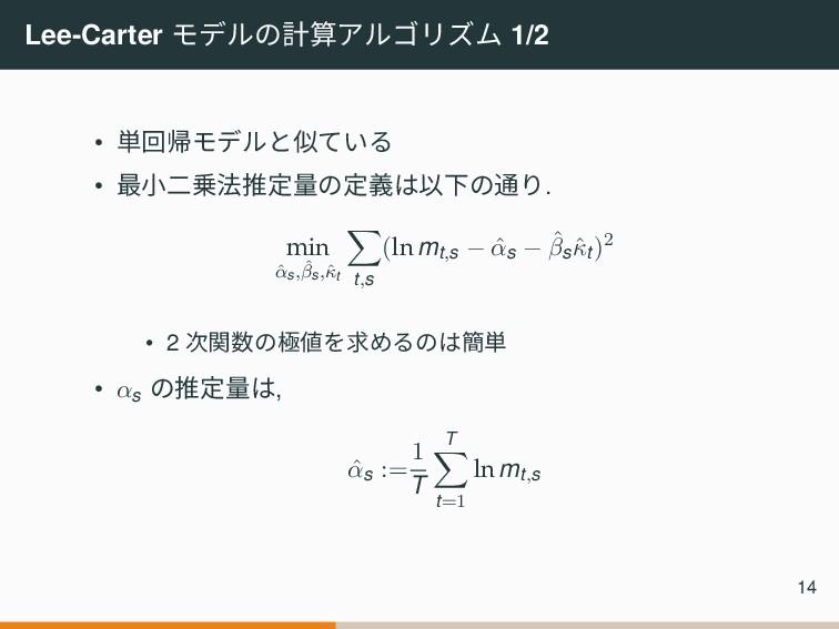 Lee-Carter モデルの計算アルゴリズム 1/2 • 単回帰モデルと似ている • 最小二...