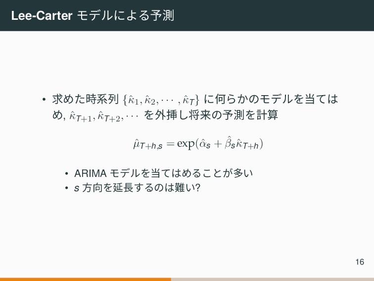 Lee-Carter モデルによる予測 • 求めた時系列 {ˆ κ1, ˆ κ2, · · ·...