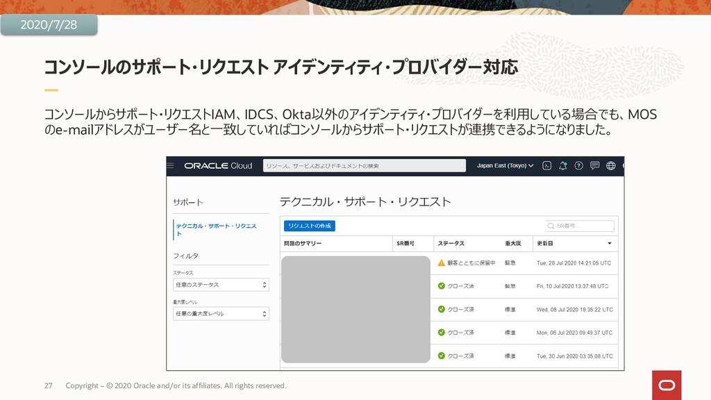 コンソールのサポート・リクエスト アイデンティティ・プロバイダー対応 コンソールからサポート・...